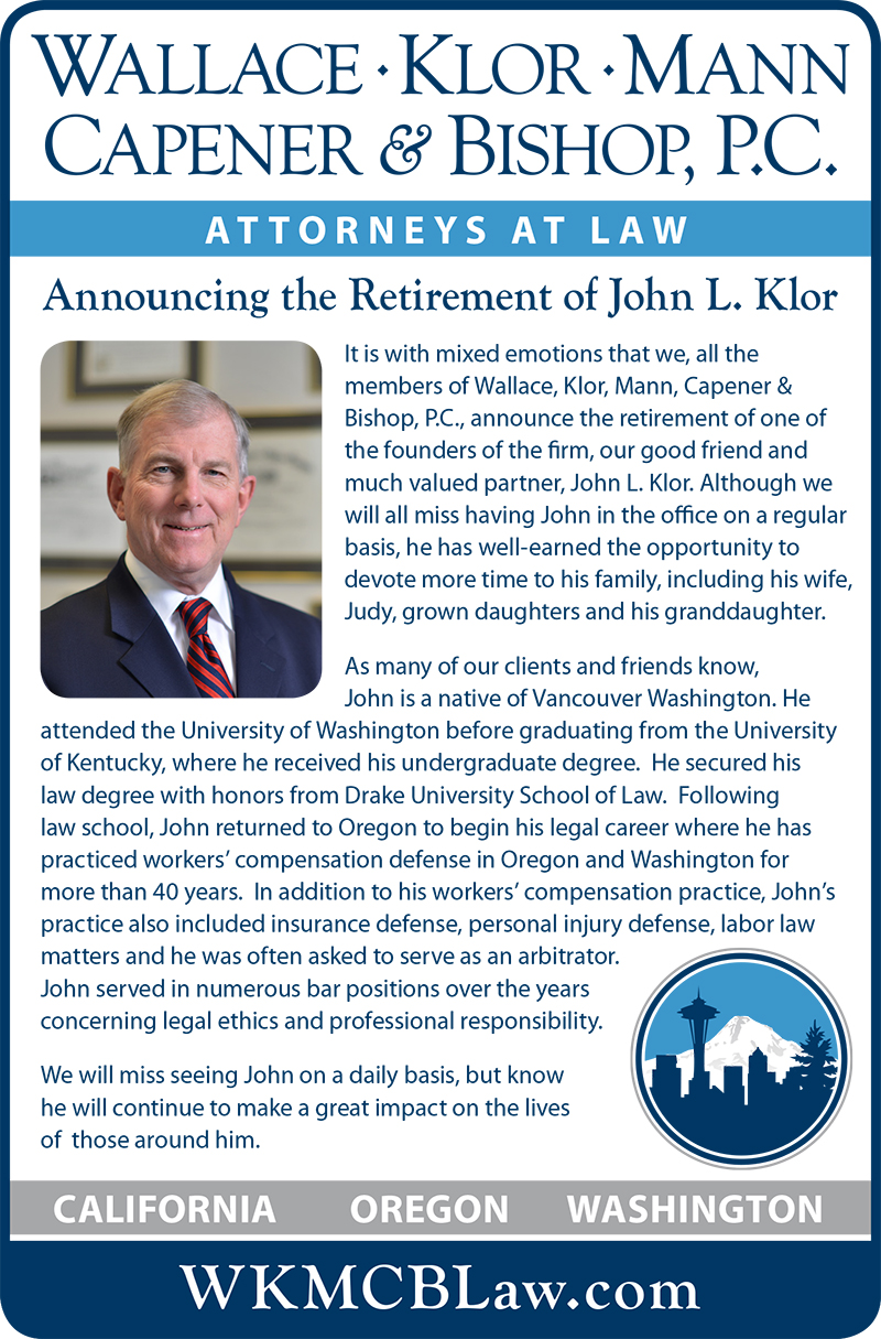 WKMCB Announces Retirement of John Klor